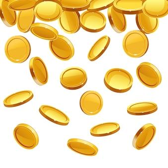Vallende gouden munten die op wit vallen