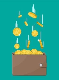 Vallende gouden munten en lederen portemonnee. geld regen. gouden munten met dollarteken. groei, inkomen, sparen, investeren. symbool van rijkdom. zakelijk succes. vlakke stijl illustratie.