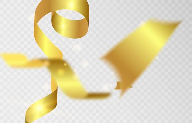 Vallende gouden serpentine op een transparante achtergrond