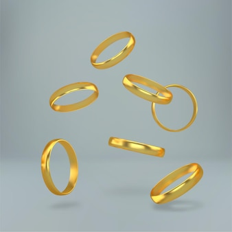 Vallende gouden trouwringen