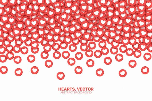 Vallende harten sociale media pictogrammen conceptuele abstracte achtergrond