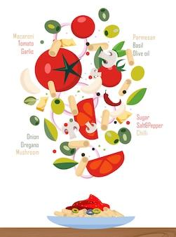 Vallende ingrediënten van de pasta en saus