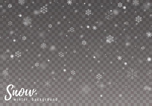 Vallende kerstmissneeuw. sneeuwvlokken, zware sneeuwval.