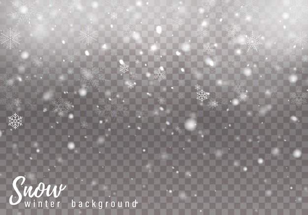 Vallende kerstsneeuw, sneeuwvlokken, zware sneeuwval.