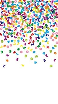 Vallende kleurrijke nummers. math studie concept met vliegende cijfers. magnetische terug naar school wiskunde banner op witte achtergrond. vallende nummers vector illustratie.