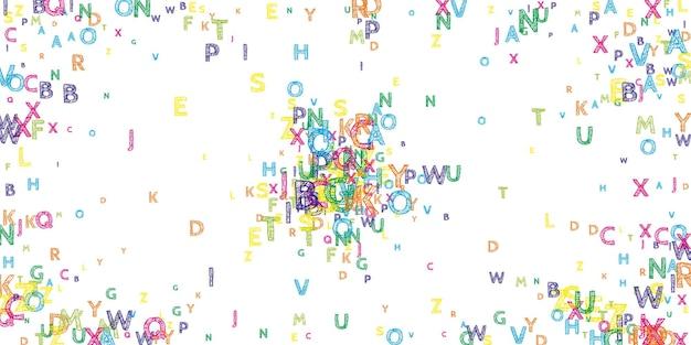 Vallende letters van de engelse taal. heldere handgetekende vliegende woorden van het latijnse alfabet. vreemde talen studie concept. wonderbaarlijk terug naar schoolbanner op witte achtergrond.