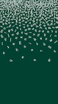 Vallende letters van de engelse taal. kinderachtige krijtvliegende woorden van het latijnse alfabet. vreemde talen studie concept. klassieke terug naar schoolbanner op bordachtergrond.