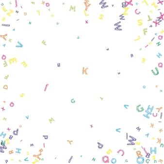Vallende letters van de engelse taal kleurrijke rommelige schets vliegende woorden van het latijnse alfabet buitenlandse lan...