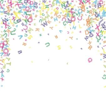 Vallende letters van de engelse taal. kleurrijke rommelige schets vliegende woorden van het latijnse alfabet. vreemde talen studie concept. adembenemend terug naar schoolbanner op witte achtergrond.