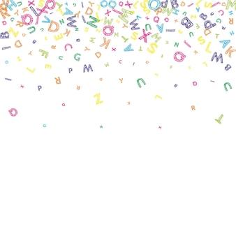 Vallende letters van de engelse taal. kleurrijke rommelige schets vliegende woorden van het latijnse alfabet. vreemde talen studie concept. vrij terug naar schoolbanner op witte achtergrond.