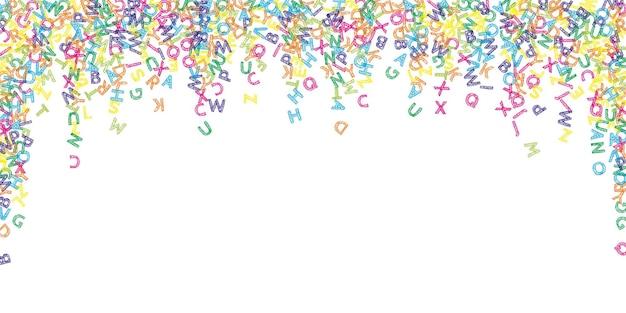 Vallende letters van de engelse taal. kleurrijke schets vliegende woorden van het latijnse alfabet. vreemde talen studie concept. symmetrisch terug naar schoolbanner op witte achtergrond.