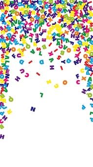 Vallende letters van de engelse taal. kleurrijke vliegende woorden van het latijnse alfabet. vreemde talen studie concept. zichtbaar terug naar schoolbanner op witte achtergrond.