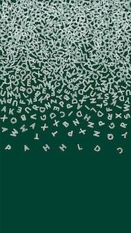 Vallende letters van de engelse taal. krijtschets vliegende woorden van het latijnse alfabet. vreemde talen studie concept. prachtige terug naar schoolbanner op bordachtergrond.