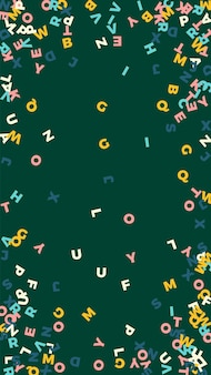 Vallende letters van de engelse taal. pastel vliegende woorden van het latijnse alfabet. vreemde talen studie concept. ideale terug naar schoolbanner op bordachtergrond.
