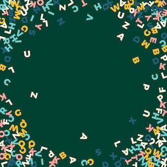Vallende letters van de engelse taal. pastel vliegende woorden van het latijnse alfabet. vreemde talen studie concept. schitterende terug naar schoolbanner op bordachtergrond