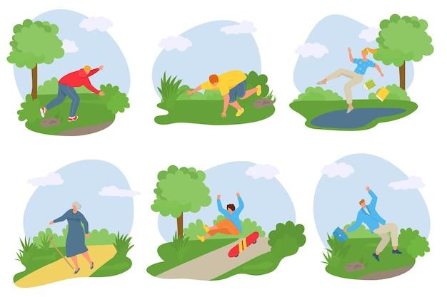 Vallende mensen, vectorillustratie, man vrouw karakter vallen buiten in het park, jongere struikelde over steen, uitglijden bij plas.