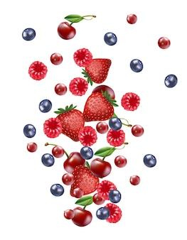 Vallende mix bessen fruit banner, geïsoleerd op witte lege achtergrond.