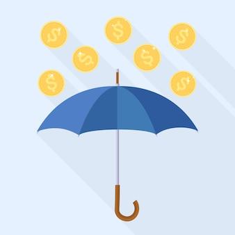Vallende munten uit de lucht. gouden geldregen met paraplu. succes van zakelijke financiën