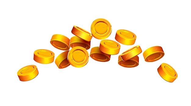 Vallende munten vallende geld gouden munten gouden regen jackpot of succes concept moderne achtergrond vliegen