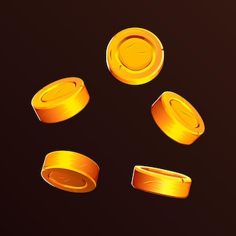 Vallende munten vallende geld vliegende gouden munten gouden regen jackpot of succes concept