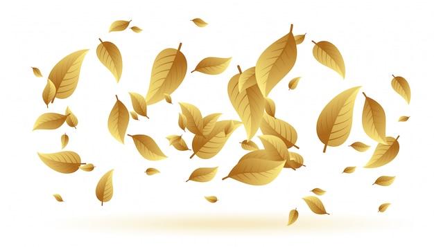 Vallende of zwevende bladeren achtergrond