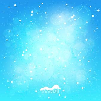 Vallende sneeuw op blauwe achtergrond, abstracte winter achtergrond, vectorillustratie