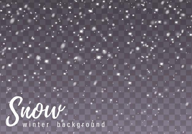 Vallende sneeuw. realistische vallende sneeuwvlokken geïsoleerd op transparante achtergrond. zware sneeuwval in verschillende vormen en vormen.