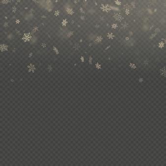 Vallende sneeuwvlok gouden overlay effect teplate geïsoleerd op transparante achtergrond.