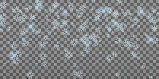 Vallende sneeuwvlokken op grijs