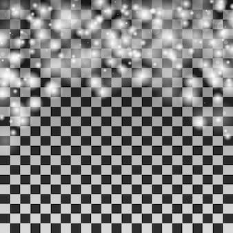 Vallende sneeuwvlokken op transparante achtergrond. kerst sneeuwval eenvoudig ontwerp.