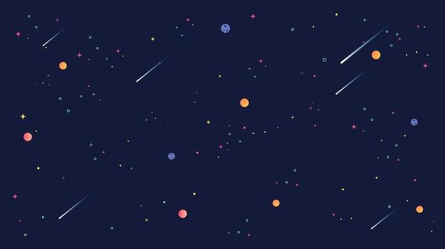 Vallende ster en sterren universum achtergrond illustratie