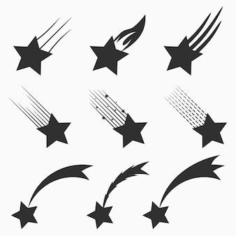 Vallende sterren vector iconen set. schieten meteorieten en kometen met staarten. vector illustratie.