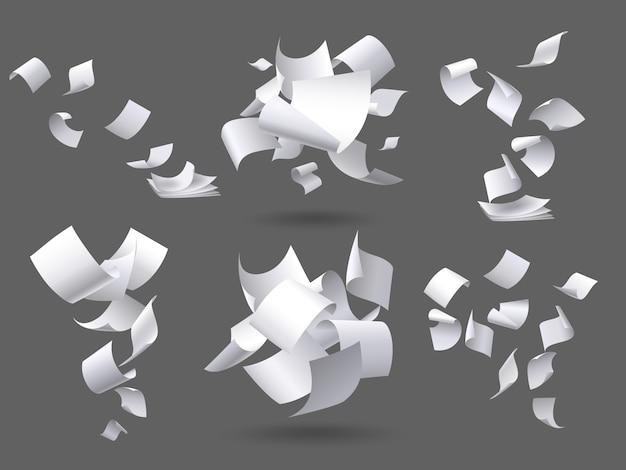 Vallende vellen. vliegende documentenpagina's, witte bladdocumenten en lege documentpagina op wind geïsoleerde illustratiereeks