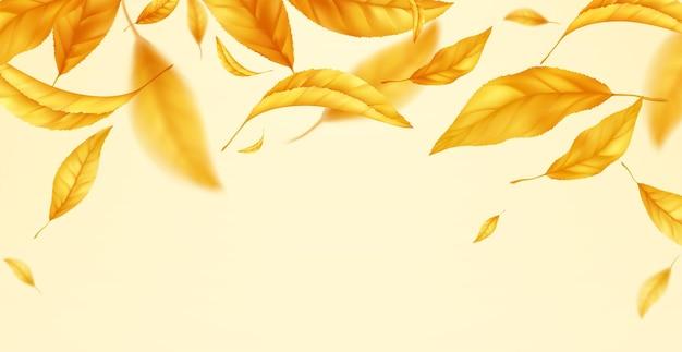 Vallende vliegende herfstbladeren achtergrond. realistische gele herfstblad geïsoleerd op gele achtergrond. val verkoop achtergrond. vector illustratie