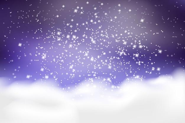 Vallende witte sneeuw en drifts