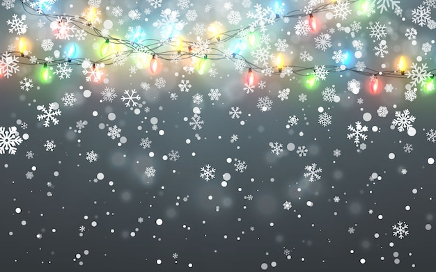 Vallende witte sneeuwvlokken op donkere achtergrond