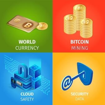 Valuta, bitcoin-mijnen, cloud- en beveiligingsgegevens