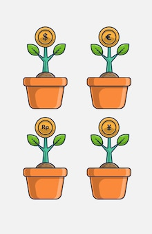 Valuta groei pictogram vectorillustratie