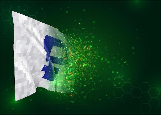Valutaroebels op 3d-vlag op groene achtergrond met veelhoeken