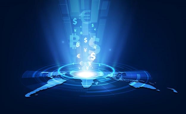 Valutawissel technologie blauw abstract snelheidsnetwerk