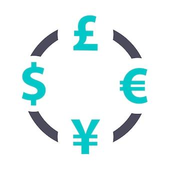 Valutawisselpictogram, grijs turkoois pictogram op een witte achtergrond
