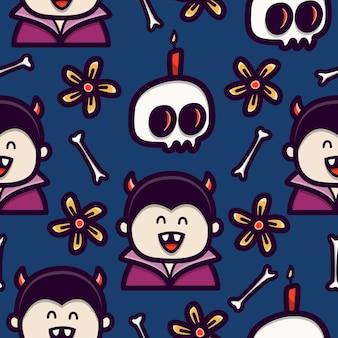 Vampier doodle cartoon naadloze patroon ontwerp