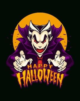 Vampier halloween-versie met stijlhandtekeningillustratie
