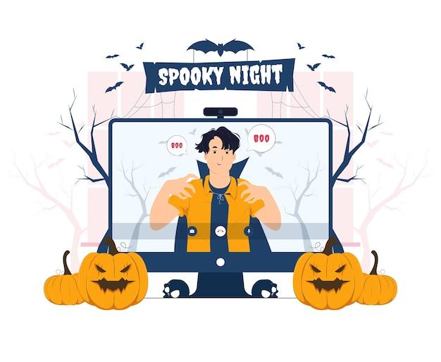 Vampier man met videogesprek met vriend op halloween concept illustratie