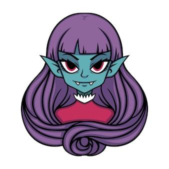 Vampier meisje portret.