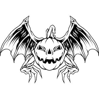 Vampier vleermuis pompoenen halloween silhouet