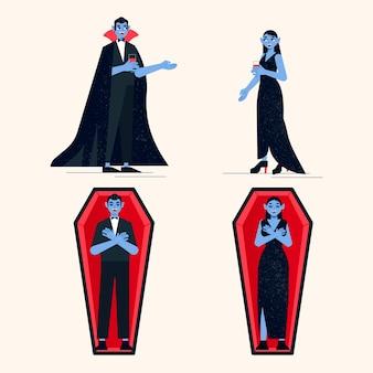 Vampierkarakterpakket met plat ontwerp