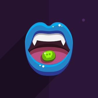 Vampiermond met open rode lippen en lange tanden op zwarte achtergrond