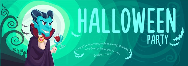 Vampire dracula voor halloween-banner