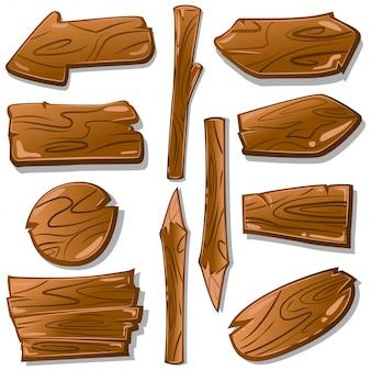 Van beeldverhaal houten tekens en wijzers vectorreeks. houten plankelementen voor geïsoleerd ontwerp